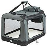 ONVAYA Trasportino pieghevole per cani e gatti | M | Trasportino pieghevole per cani o gatti per auto e casa | Colore grigio nero