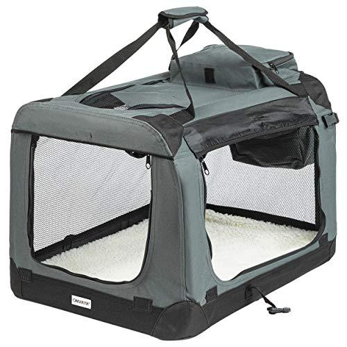 ONVAYA® Trasportino pieghevole per cani e gatti | M | Trasportino pieghevole per cani o gatti per auto e casa | Colore grigio nero