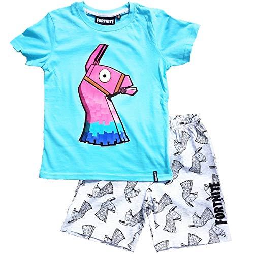 Fortnite Schlafanzug Pyjama kurzer Schlafanzug Jungen (Hellblau, Gr. 164)