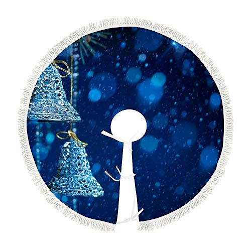 Navy Blue and Silver White Classic Christmas Christmas Tree Skirt Mat Xmas Tree Base Cover Decoration Ornament for Christmas Festival Holiday Home Party (3 Sizes)