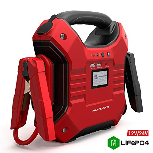 AUTOGEN 10000A 12V/24V Jump Starter 42000mAh Lithium Iron Phosphate (LiFePO4), Booster Charger for (ALL Gasoline & 15L Diesel Engines) with Smart LED Screen, Built-in LED light