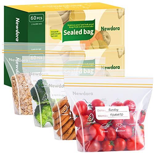 Newdora Bolsas Reutilizables para Almacenamiento de Alimentos, 60pcs Bolsas Almuerzo Infantil Comida...