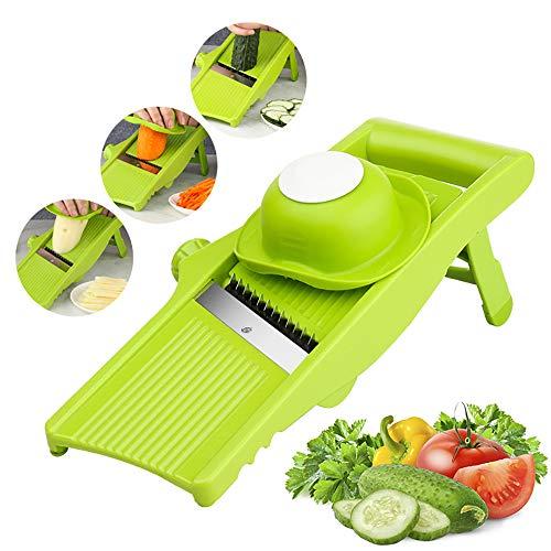 YQQWN Mandoline Slicer Vegetal de Acero Inoxidable Cuchillas seguras Ajustables Cortador Picador y rallador para Cocina, Cortadora Profesional de Alimentos Mandalin