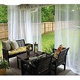 MYKK Cortinas Decoración De Jardín Impermeable Al Aire Libre para Porche Exterior Voile con Astilla Anillo Grommet W200 x L250cm 1PC Blanco