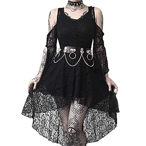 Punk Kleid Damen Vintage Gothic Kleid Lang Spitzenkleid Piebo Schulterfrei Langärmliges Lace Up Trompetenärmel Asymmetrisch Hoch Niedriger Steampunk Röcke Sexy Abendkleider Cocktail Party Cosplay