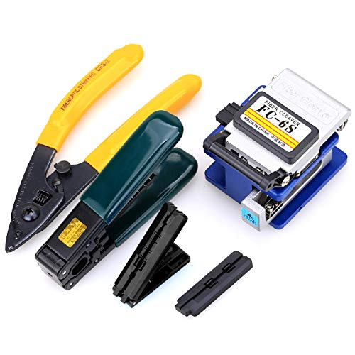 5 In 1 FTTH Fiber Optic Tool Kit with FC-6S Fiber Cleaver and Fiber Stripping pliers to Fiber Cold Connection