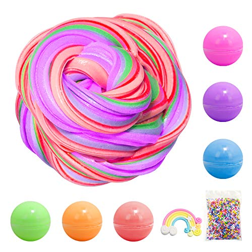 X-GORSON 6 Colors-Fluffy Slime(10 OZ), Scented Slime Cotton mud, Super Soft and Non-Sticky Kids Butter Slime, Ideal Stress Relief Slime Toys , Foam Balls Rainbow Charm Included for DIY Slime Making