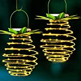 Tcamp 2 Pack 60LEDS Pineapple Solar Lights Outdoor Solar Lights Hanging Solar Lantern with Handle, Solar Powered Garden Outdoor Decorative Pineapple Lights for Patio Yard Porch Path (Warm White)