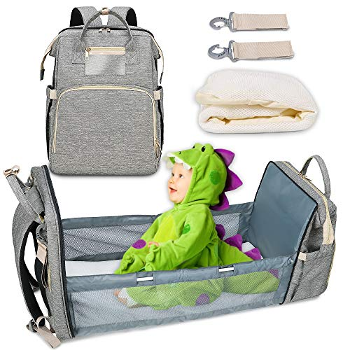 New Diaper Bag Backpack with Bassinet, Large Capacity Nappy Changing Bag for Travel Crib, Multifunction Waterproof Baby Back Pack for Boys Girls