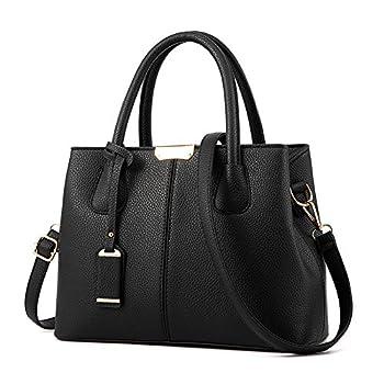 Covelin Women s Top-handle Cross Body Handbag Middle Size Purse Durable Leather Tote Bag Black