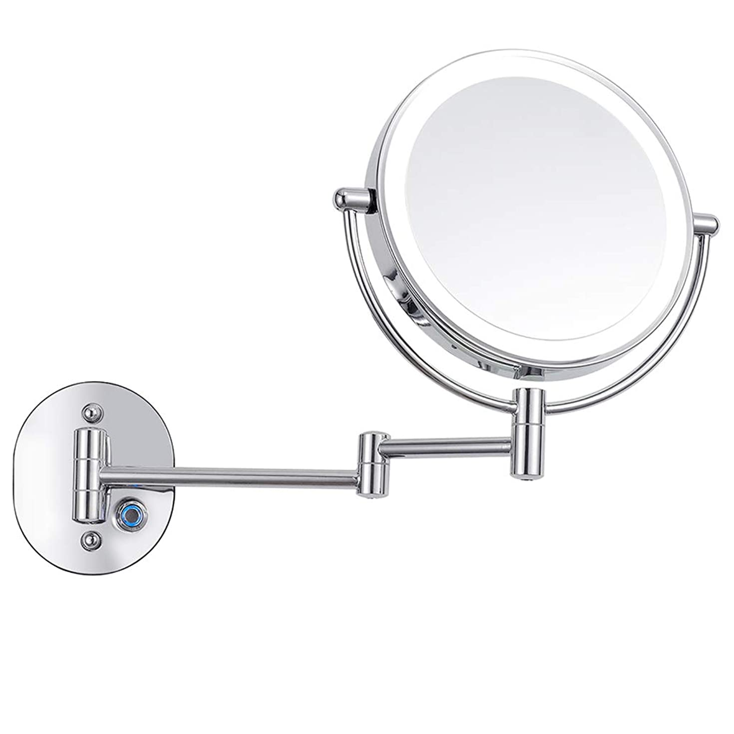 評議会クルーズ何十人もHUYYA シェービングミラー バスルームメイクアップミラー LEDライト付き、バニティミラー 壁付 化粧鏡 360度回転 両面 寝室や浴室に適しています,7x_Powered by Plug