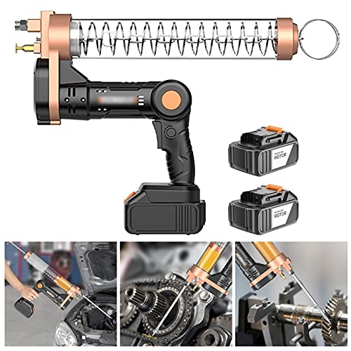 Hailong Cordless Electrical Grease Gun, Pistol Grip Grease Gun Set, Heavy Duty Steel Barrel, 2 Reinforced Coupler Included, 12000PSI (Color : Suitable bagged oil, Size : 2 x battery)