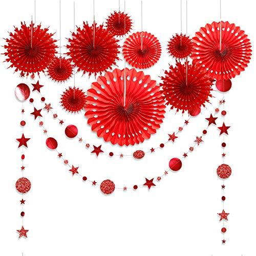 Red Party Decorations Chinese New Year Tissue Pompom Paper Fan Decor Christmas Party Garland Glitter Circle Dots Garland Steamer Banner Backdrop for Girls Birthday Wedding Valentines Day