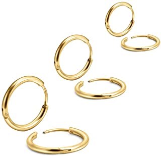 EACHLP Unisex 18K Real Gold Plating Surgical Steel Sleeper Tiny Hoop Earrings,Nose Ring Septum Ring Helix Ring Daith Ring ...