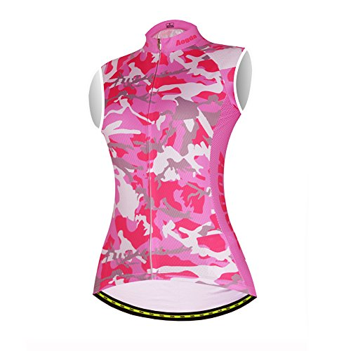 Aogda Cycling Jerseys Sleeveless for Women Zip Quick Dry Top Bicycle Clothing Vests (C Pink, X-Large)