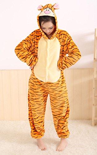 Winnie the pooh personajes Pijama Completo cerdito burro eeyore Tigre onesie Fiesta Disfraz de Kigurumi Con Capucha PIJAMA Sudadera Ropa Para Dormir regalo de Navidad (Tigger, L(height 170cm-180cm)