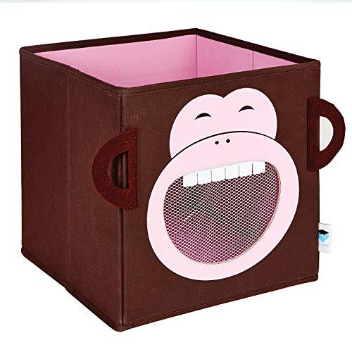 STORE IT - Spielzeugkiste - Affe, 30x3030cm, rosa/braun, faltbare Spielzeugkiste für das Kinderzimmer, Aufbewahrungsbox für Kinder