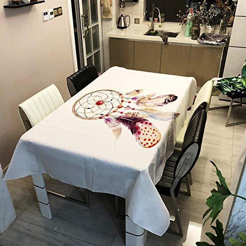 GHGD 140X180Cm-Mantel Decorativo con Estampado De Sueños Naturales, Poliéster para El Hogar, Impermeable, Rectangular, Mantel para Mesa, Tapete para Picnic, Cubierta para Té Y Café