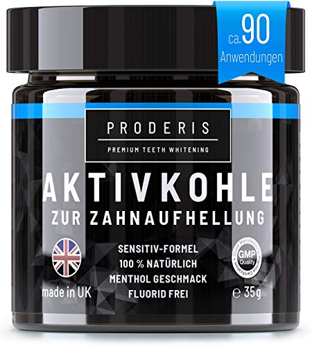 Proderis Kokosnuss Aktivkohle Pulver für weiße Zähne mit frischem Menthol Vegan Activated Charcoal Teeth Whitening Powder Zahnaufhellung Kohle