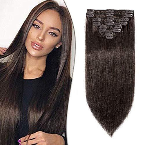 Clip in Extensions Echthaar Haarverlängerung Haarteil 8 Tressen hitzebeständig glatt Dunkelbraun#2 33 cm (80 g)