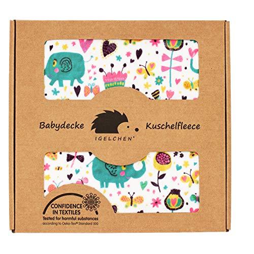 Antiallergische Babydecke - Premium Kuschelbabydecke zum Spielen und Ertasten (70x100 cm, Pink - Elefant)
