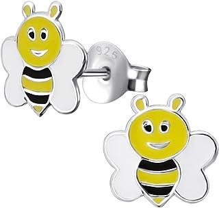 Laimons - Orecchini da bambina a forma di ape, 8 mm, in argento Sterling 925, colore: nero, bianco, giallo