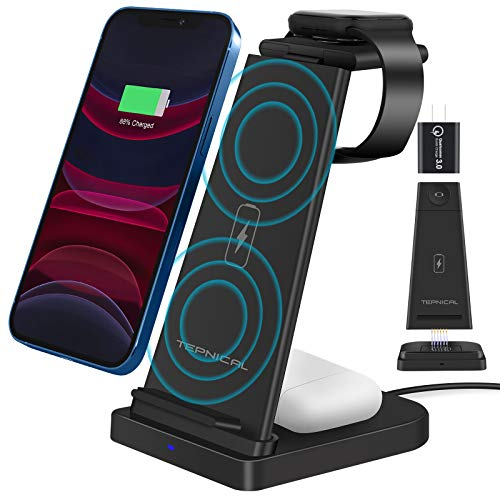 【2021最新強化版】TEPNICAL ワイヤレス充電器 Qi認証 3 in 1急速充電15W/10W/7.5W iPhone 12 / 12 Pro / 12 Pro Max / 11 / 11 Pro / Pro Max / Galaxy S20 /S10 / S10+ / S9 / Note 10/Apple AirPods 2 / AirPods Pro など対応(日本語説明書付き、18WQC3.0アダプター付属)ブラック
