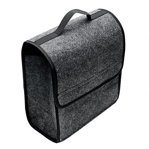 iTimo Sac de rangement multifonction pour coffre de voiture, pliable, en feutre doux, gris, 30 × 15 × 28cm