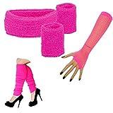 krautwear Damen Mädchen Schweißbänder Stirnband 2 Armbänder Beinstulpen Handschuhe 80er Jahre...