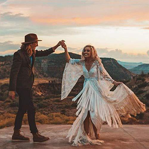 ztmyqp Stilvolle Einfachheit Hochzeitskleid Einzigartige Bridal Gypsy Hippie Bohemian Stilvolle Einfachheit Hochzeitskleid Trompete Ärmel Mode Brautkleid mit Quasten (Farbe: Off White, Us-Größe: 4) N