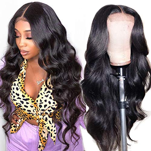 Lace Front Human Hair Wigs for Women Pre Plucked Hairline 220% Denisty Brazilian Body Wave Lace Front Wigs with Baby Hair Natural Color (18Inch, 220% Denisty)