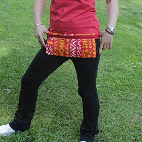 Riñonera Polinesia - Amarillo, Rojo y Blanco - Bolso cinturón hecho a mano en lona y algodón, cerrado con cremallera