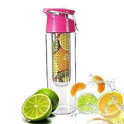 Demarkt water bottle for fruit spritzers vegetable spritzer water bottle plastic water bottle sports bottle approx. 800 ml sports bottle leak-proof BPA-free (pink)