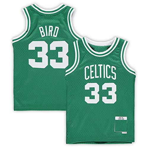 Camisetas de baloncesto para niños Larry Boston NO.33 Verde, Celtics Bird Preescolar 1985-1986 Hardwood Classics Throwback Team Jersey transpirable sin mangas chaleco uniforme