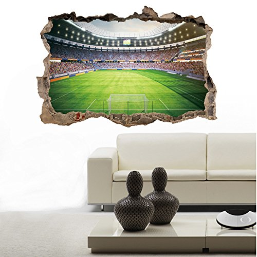 Aofu Wandaufkleber AF5715 mit Fußballfeld, 3D-Aufkleber, Heimdekoration, PVC, umweltfreundlich, 50 x 70 cm