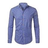 N\P - Camicia da lavoro da uomo a maniche lunghe con bottoni Blu 2 XXL