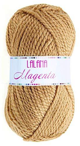 Hilo de Acrilico Ovillo de Lana para Tejer Crochet Ganchillo o Punto Torrijo MAGENTA 100g, Ovillo de Lana Suave Acrílica para Tejer   1 Unidad, Color 1507-CAMEL