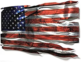 Large Patriotic Metal Wall Sculpture 'Tattered Glory' by Helena Martin - Wavy, Distressed American Flag Art - 46x24in | Made in USA