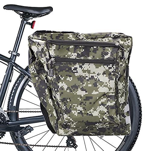 Punvot Alforja para bicicleta multifunción, impermeable, doble bolsa para sillín de bicicleta, bolsa para rueda trasera con varios bolsillos, gran paquete de viaje, accesorios para bicicleta
