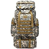 Vaupan Hiking Backpack, 80L Camping Backpack with Rain Cover, Waterproof Outdoor Sport Travel Daypack Molle Rucksack for Men Women (City camouflage)