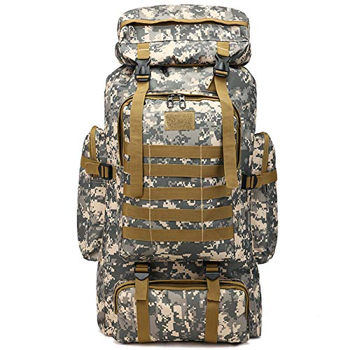 Vaupan Internal Frame Hiking Backpack, 80L Camping Backpack with Rain Cover, Waterproof Outdoor Sport Travel Daypack Molle Rucksack for Men Women (City camouflage)