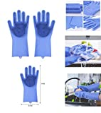 Ivaan Magic Dishwashing Gloves with Scrubber, Silicone Cleaning Reusable Scrub Gloves for Wash