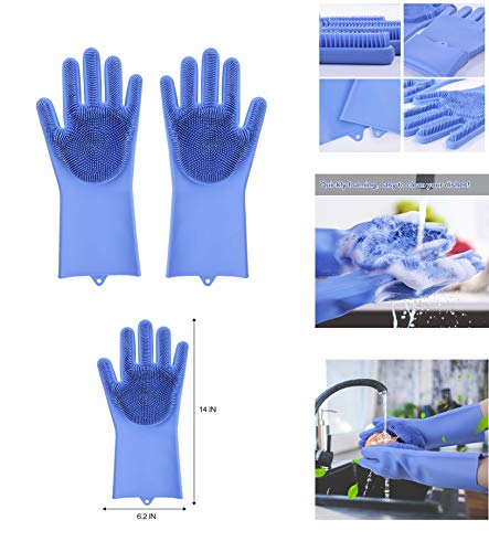 Ivaan Magic Dishwashing Gloves with Scrubber, Silicone Cleaning Reusable Scrub Gloves for Wash Dish,Kitchen, Bathroom (Multi)