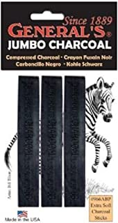 General Pencil`s Jumbo Compressed Charcoal 6B Stick (966ABP)