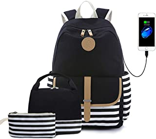 Lmeison Backpack Set, Canvas Unisex Bookbags 14