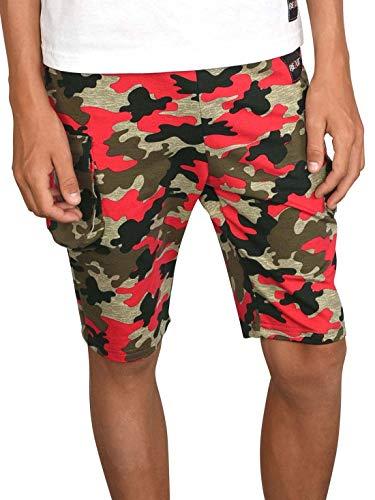 BEZLIT Jungen Shorts Kinder Kurze-Hose Cargo Capri Short Hosen Strech 30079 Rot-Camouflage 164