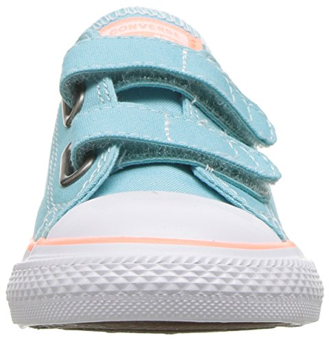 Converse Unisex-Baby Chuck Taylor All Star 2V Seasonal Low Top Sneaker, Bleached Aqua/Crimson Pulse, 3 M US Infant