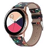 YuStar Bracelet en cuir pour montre connectée Samsung Galaxy Watch Active, 42mm M...