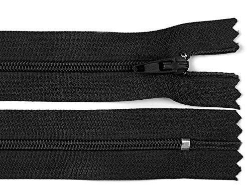 Schnoschi 10 Stück 20 cm Langer Spiralreißverschluss, Nicht teilbar, schwarz, 3mm Laufschiene Reißverschluss