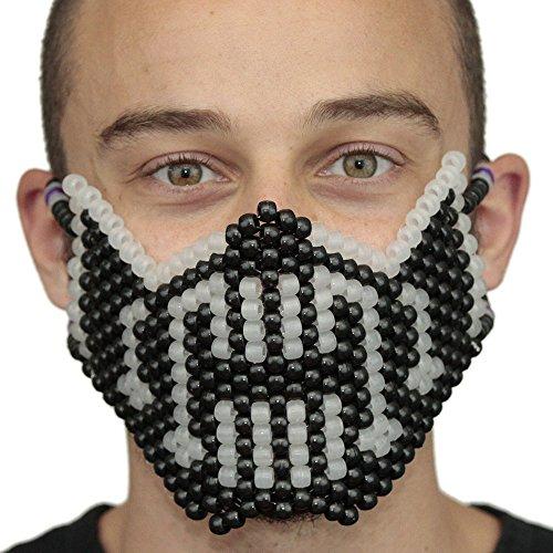 Kandi Gear Mascara Kandi de Bane de Batman que Brilla en la Oscuridad, mascara de rave, mascara de halloween, mascara de cuentas para festivales de musica y fiestas